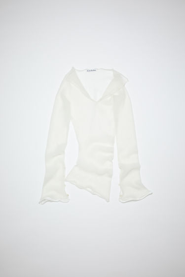 Acne Studios white sweater is made of sheer, ribbed nylon with elongated sleeves.