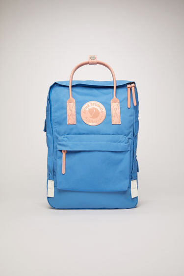"Acne Studios Kånken Tarpaulin A/F blue is a variant on the Kånken 15"" laptop bag, updated with luxury finishes. A collaboration between Fjällräven and Acne Studios, with co-branded details."