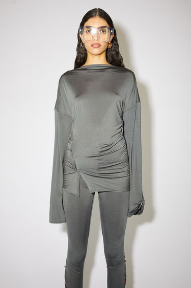 Acne Studios grey high neck t-shirt features asymmetric ornate metal button closures.