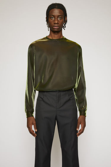 Acne Studios apple green long-sleeved top is crafted from a lightweight mesh with a shiny, iridescent finish and then accented with a logo across the shoulder seam.