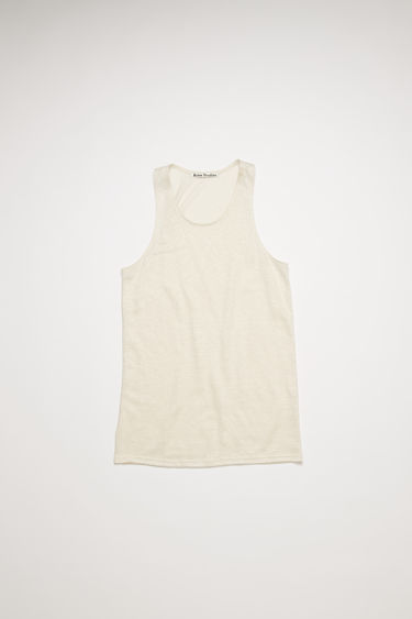 Acne Studios off white sleeveless top is made from lighweight slubbed linen and framed with a scooped neckline with ribbed edges.