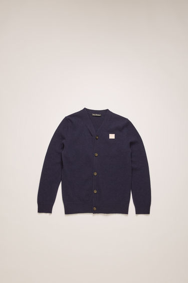 Acne Studios navy/pink cardigan is finely knitted from wool and finished with a face-embroidered patch on the chest.
