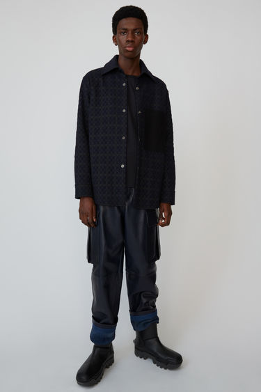 Acne Studios navy/brown relaxed fit overshirt with contrasting chest pocket and elbow patches.