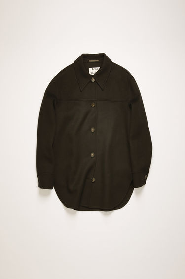 Acne Studios black overshirt is crafted from double-faced wool to a relaxed silhouette and features a point collar and a curved hemline.