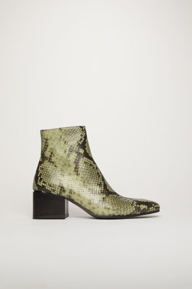 Acne Studios dusty green snake print ankle boots.