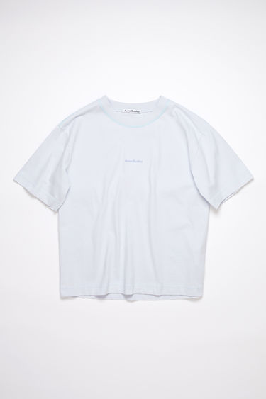Acne Studios pale blue short sleeve t-shirt features a ribbed crew neck and an Acne Studios logo at the chest.