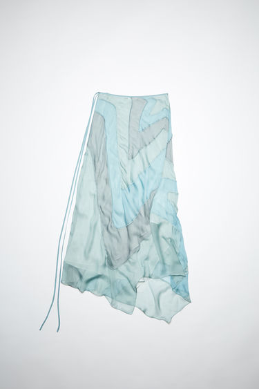 Acne Studios sky blue silk chiffon skirt features a star-shaped patchwork. In collaboration with Ben Quinn.