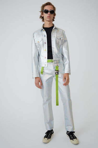 Acne Studios 1998 Holographic Foil denim jacket is cut for a slim fit and detailed with chest flap pockets and multi-colour logo-embossed buttons.
