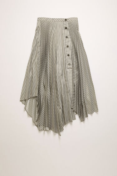 Acne Studios steel grey pinstripe skirt is crafted to a pleated construction with an asymmetric hem then secured at the side with buttons.