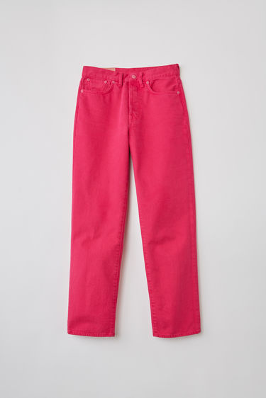 Acne Studios Blå Konst Mece Reactive Dye Fuchsia Pink jeans are cut to sit high on the waist and shaped to a straight-leg fit.