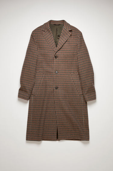 Acne Studios burgundy/light blue coat is made from a wool-blend woven with a houndstooth check and has wide notched lapels, two welt pockets and three-button closure.