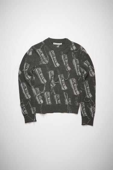 Acne Studios anthracite grey crew neck sweater features a phone intarsia knit design with loose yarn.