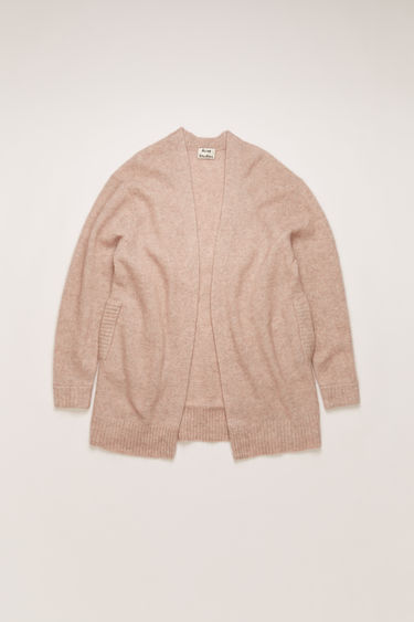 Acne Studios Raya Short Mohair powder pink cardigan is shaped to a loose silhouette and feature rib-knit pattern on the sleeves and hem.