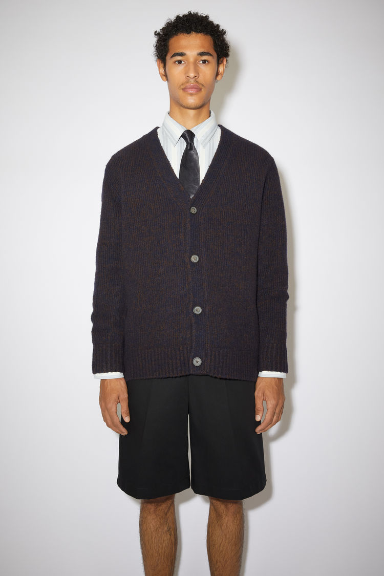 아크네 스튜디오 가디건 Acne Studios Melange v-neck cardigan navy/brown
