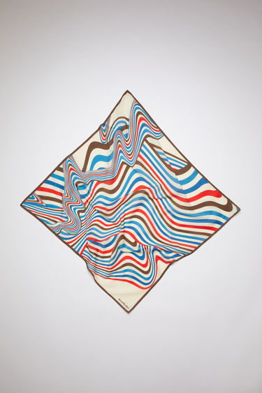 Acne Studios sand beige square bandana scarf is made of a cotton/silk blend, featuring psychedelic striped artwork.