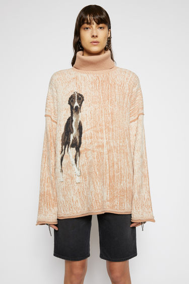 Acne Studios warm beige/multi melange sweater is made from a mix of merino wool and shiny polyamide yarn and features a whippet intarsia pattern. It's crafted to a relaxed silhouette with a high ribbed neck and slightly flared sleeves and finished with rolled edges.