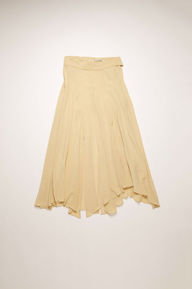 Acne Studios warm beige skirt is crafted from panels of bias-cut silk crepe that subtly drapes around the figure. It's shaped to a relaxed-fitting mid-length with a partially elasticated waistband for ultimate comfort, and finished with a long buttoned belt.