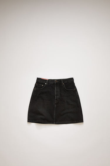 Acne Studios black denim skirt is treated with a stone wash for vintage appeal and crafted to a flared silhouette with a high-rise waist.