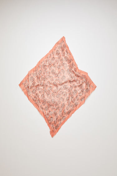 Acne Studios pale pink bandana scarf is crafted to a square shape from a creased cotton blend and then printed all over with a paisley pattern - with a soft, washed out finish.