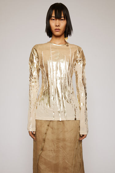 Acne Studios warm beige top is crafted to a second-skin fit with a round neckline and slim, long sleeves and features a print of metallic brush strokes.