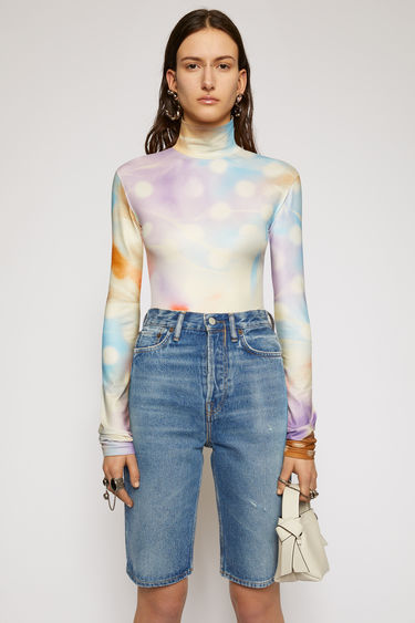 Acne Studios multicolour bodysuit is made from technical jersey and spray-painted like a tie-dye design. It's shaped with a high neckline and designed to be closely fitted to the body and sleeves.