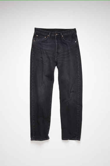 Acne Studios black jeans are made from rigid denim with a deep rise and a loose leg.