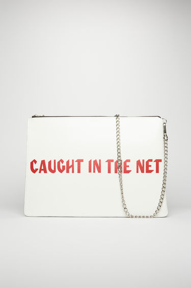 "Acne Studios white/red document holder is crafted from high-shine leather and printed with the words ""Caught in the net"" across the front. Secured with a zip fastening and chain, the accessory holds space for documents and small essentials."