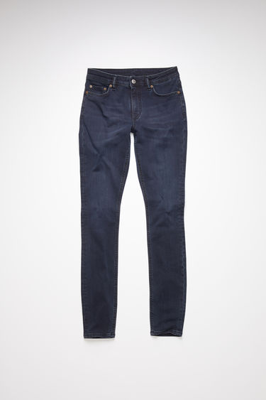 Acne Studios blue/black jeans are made from super stretch denim with a mid rise and a skinny leg.