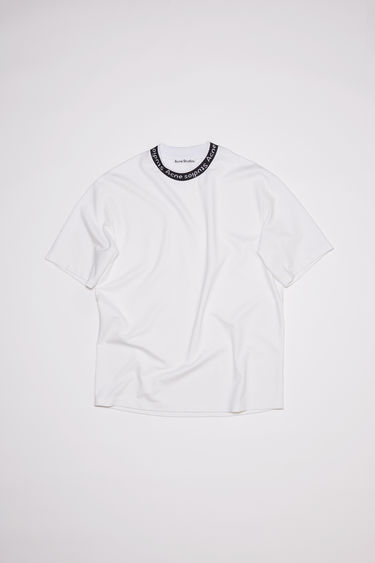 Acne Studios optic white t-shirt is made of a viscose blend with logo binding at the crew neck.