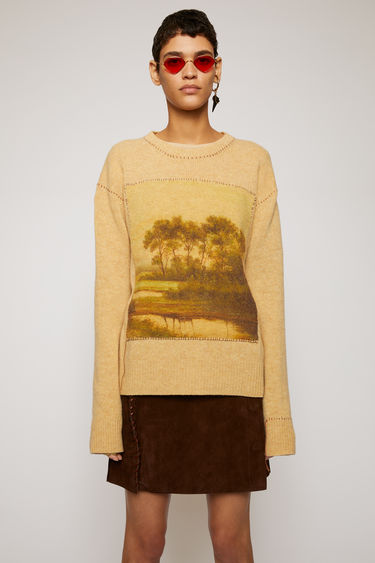 Acne Studios beige/multi sweater is knitted from Shetland wool and features a print of Swedish landscape. It's shaped with a crew neck and framed with whip stitching.