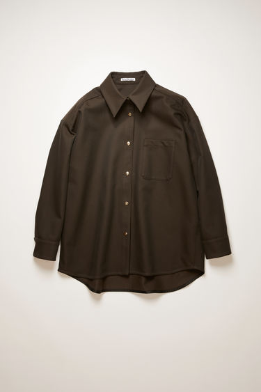 Acne Studios chestnut brown shirt is cut to a relaxed silhouette from cotton-blend twill and has a point collar, chest patch pocket and logo-embossed snap button closures.