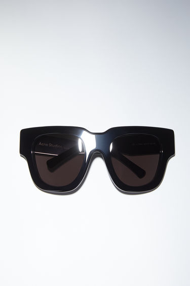 Acne Studios black/black acetate sunglasses are made in Italy.