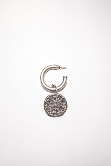 Acne Studios antique silver pierced earring features a branded coin and is sold as a single earring.
