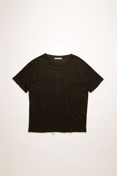 Acne Studios black t-shirt is crafted from lightweight slubbed linen and shaped to a relaxed fit with dropped shoulder seams.