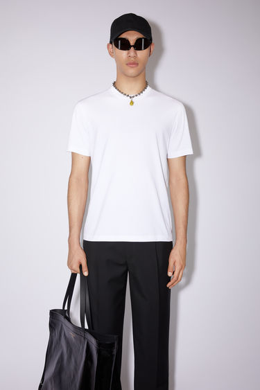 Acne Studios optic white high neck t-shirt is made of cotton, featuring an Acne Studios logo tab on the lower side.