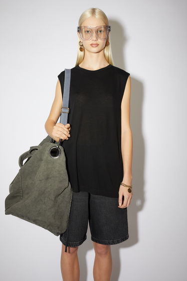Acne Studios black sleeveless top is cut from a lightweight jersey with a round neck and has a small logo-jacquard tab sewn on the side seam.