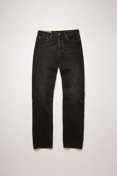 Acne Studios 1996 Vintage Black jeans are crafted from rigid denim and shaped with a high waist that fits slim through the hips and thighs before falling loosely over the calves.