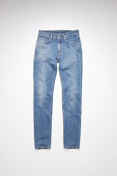 Acne Studios mid blue jeans are made from comfort stretch denim with a mid rise and a skinny leg.