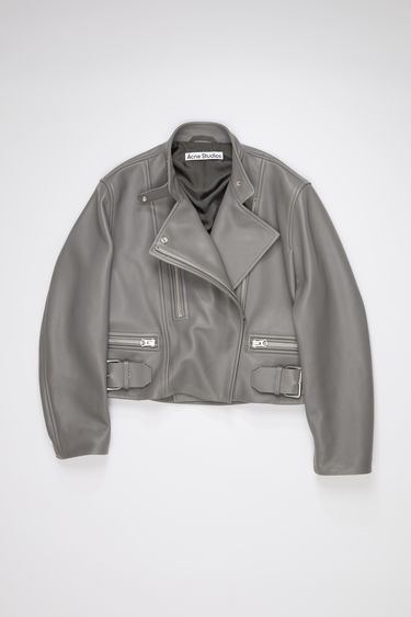 Acne Studios steel grey leather biker jacket is fully lined with a classic fit.