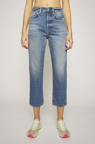 Acne Studios Blå Konst Mece Mid Blue Trash jeans are cut to sit high on the waist and shaped to a straight-leg fit.