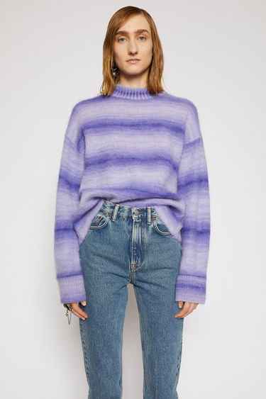 Acne Studios electric purple sweater is knitted from alpaca and mohair-blend and features ombre-jacquard stripe pattern. It's shaped to a relaxed, boxy shape with dropped sleeves, then finished with ribbed edges.