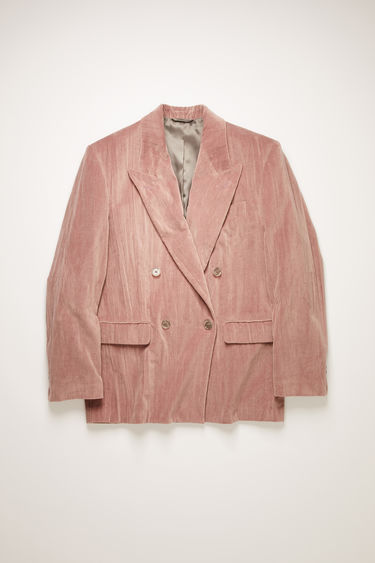 Acne Studios mauve purple suit jacket is made from creased cotton-velvet and constructed to a slightly oversized, boxy shape and has lightly padded shoulders, peak lapels and a double-breasted front.