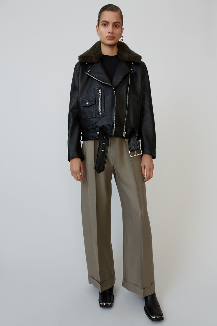Shearling Biker Jacket Black/Hunter Green by Acne Studios