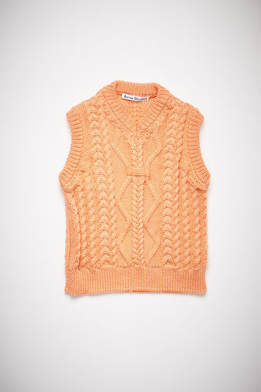 Acne Studios orange sleeveless cable knit sweater is made of nylon with a fitted, cropped silhouette.