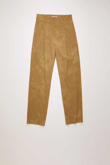 Acne Studios hazel beige/taupe trousers are crafted from cotton twill with washed out finish and shaped to a straight-leg fit with a pleated front.