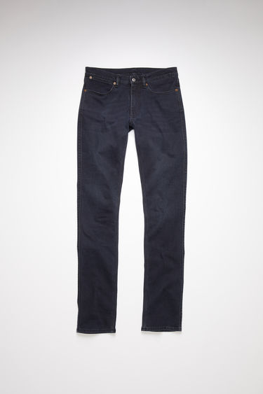 Acne Studios blue/black jeans are made from comfort stretch denim with a low rise and a slim leg.