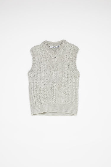 Acne Studios silver grey sleeveless cable knit sweater is made of nylon with a fitted, cropped silhouette.