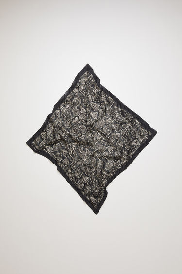 Acne Studios black bandana scarf is crafted to a square shape from a creased cotton blend and then printed all over with a paisley pattern - with a soft, washed out finish.