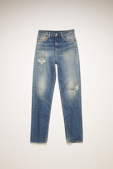 Acne Studios 1995 Vintage Destroyed jeans are crafted from rigid denim that's stonewashed and distressed to give a worn-in appeal. They're shaped to sit high on the waist before falling to a slim, straight leg.