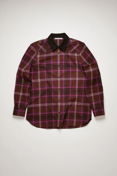 Acne Studios brown/purple shirt is made from a cotton-blend patterned in checks like a traditional plaid flannel and has a traditional Western yoke and contrasting collar.